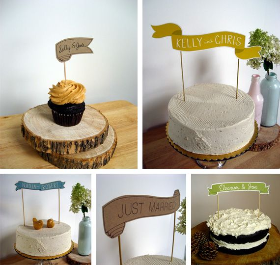 Cake banners - super easy.  Just printed paper, cut out (or use a silhouette or cricut I guess), glue to chopsticks or bbq skewers and jam it into your cake.