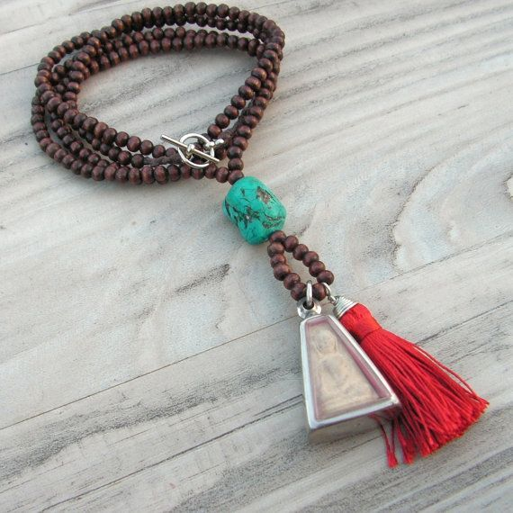 Mala Tassel Necklace - Dark Brown Wood with Red Tassel and Blessed