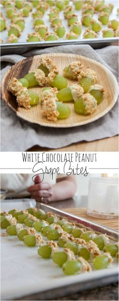 White chocolate peanut covered grape bites from @sweetphi , grape recipes, recipes with grapes, green grapes, healthy snacks, healthy snack ideas