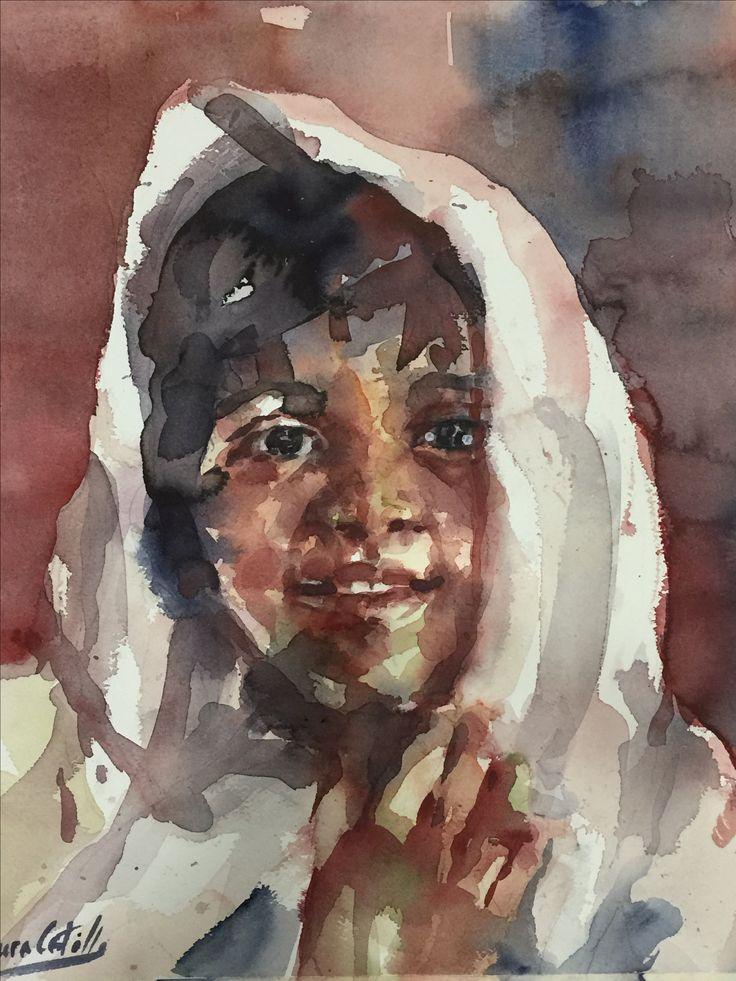 Retrato en acuarela de Laura Castilla sobre papel