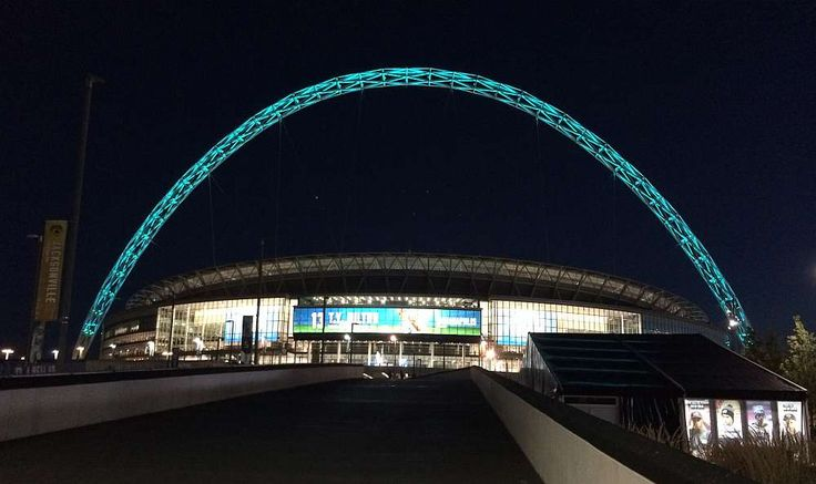 Wembley Stadium lit up after the Jacksonville Jaguars vs Indianapolis Colts game during the NFL London 2016 series of games.
