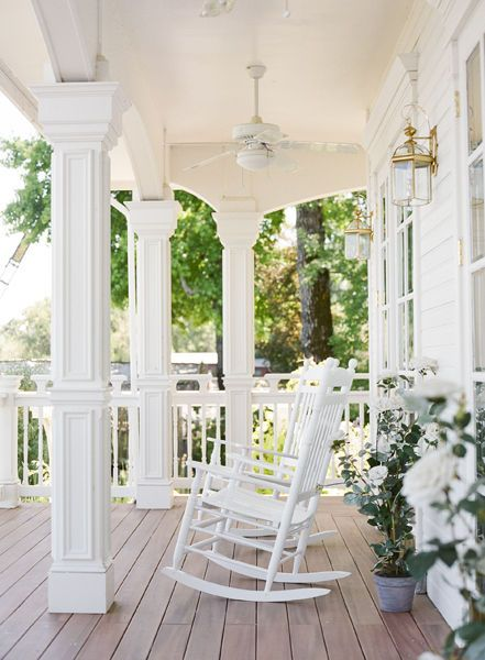 Rocking chairs make this Southern-style porch the perfect perch.