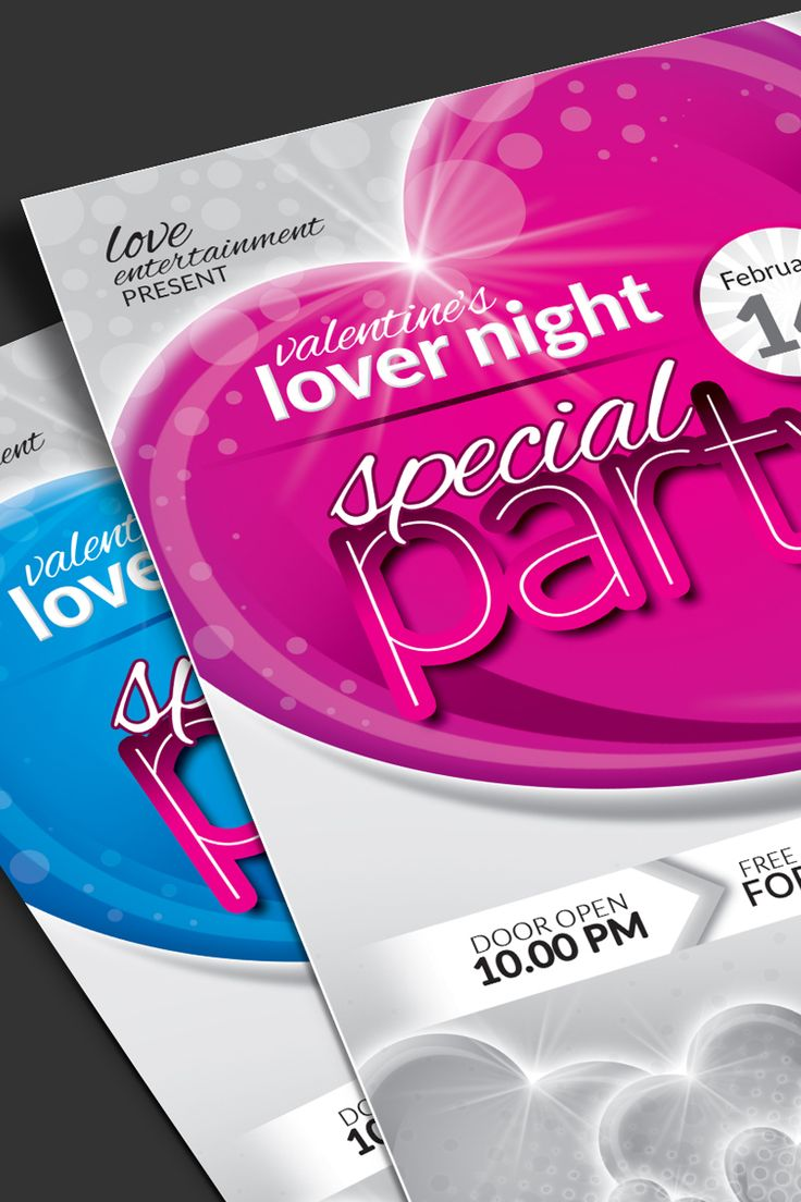 Valentine Day Package: Flyer, Event Ticket, Facebook Timeline Cover, VIP Pass and Invitation Card Bundles