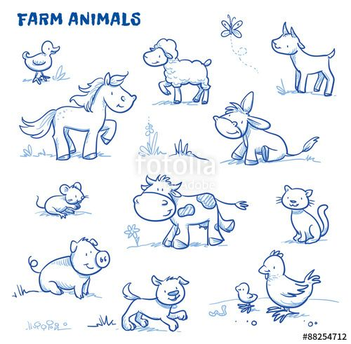 Vektor: Cute cartoon farm animals. duck, horse, sheep, goat, donkey, cow, mouse, pig, dog, cat, chick. Hand drawn doodle vector illustration.