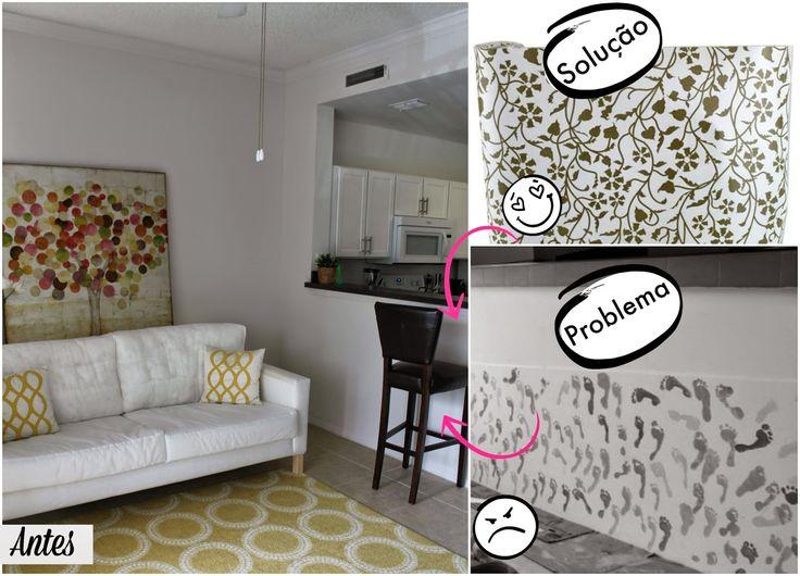 Casa Montada: Papel Contact decora (e protege) a bancada da cozinha integrada