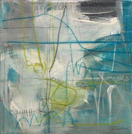 "Jennifer Rivera, ""There And Back"",12"" X 12"", acrylic graphite and pastel stick on canvas"