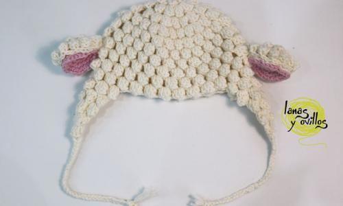 tutorial gorro crochet oveja patrón gratis