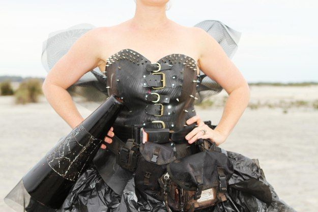The Junk Fairy. Handmade creation from things around the farm. Dowerin Field Days competition Entry 2014. #fashion #fun #recycle #upcycle #farmart #wearableart #blackdress