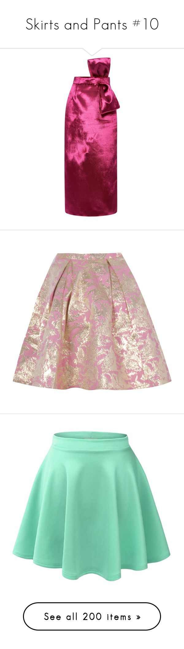 """""""Skirts and Pants #10"""" by summersurf2014 ❤ liked on Polyvore featuring skirts, two piece, two piece skirt, below knee pencil skirt, pencil skirts, below the knee pencil skirts, high waist knee length pencil skirt, mini skirts, pink and gold pleated skirt"""