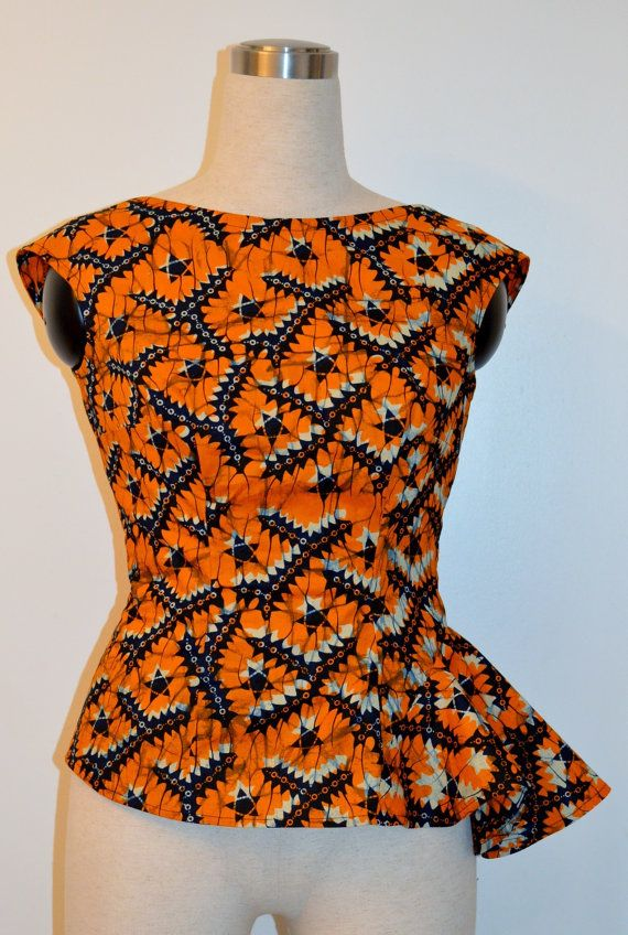African print low back top. African fabric orange top by Rahyma, $55.00