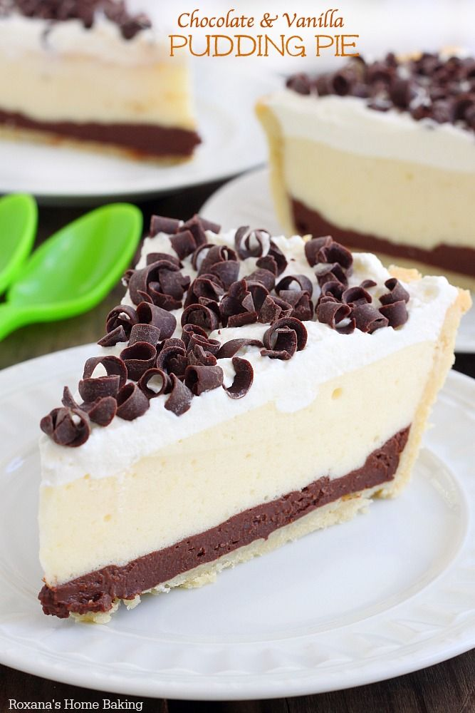 Made completely from scratch, this chocolate and vanilla pudding pie is a breeze to make! So rich, yet so light and creamy! My family can not get enough of it!
