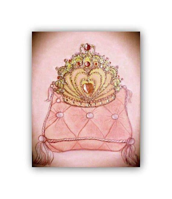 Princess Peach Crown Baby Girl Nursery Art Princess decor