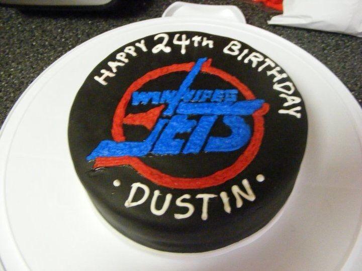 Winnipeg jets hockey puck cake