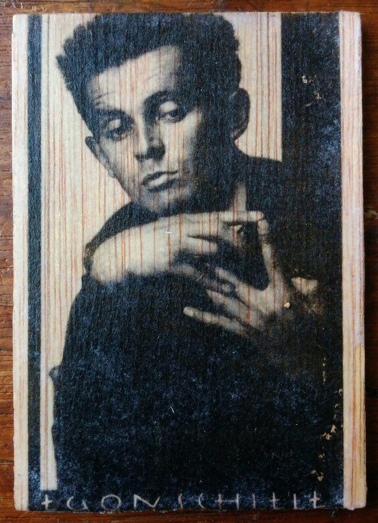 Egon Schiele - Photo transfer on wood. Handmade.
