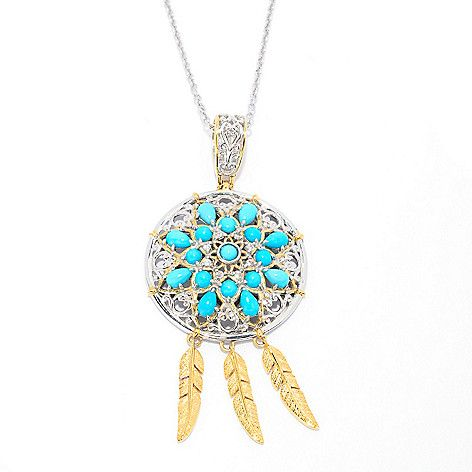 140-238- Gems en Vogue Sleeping Beauty Turquoise & White Zircon Dream Catcher Pendant