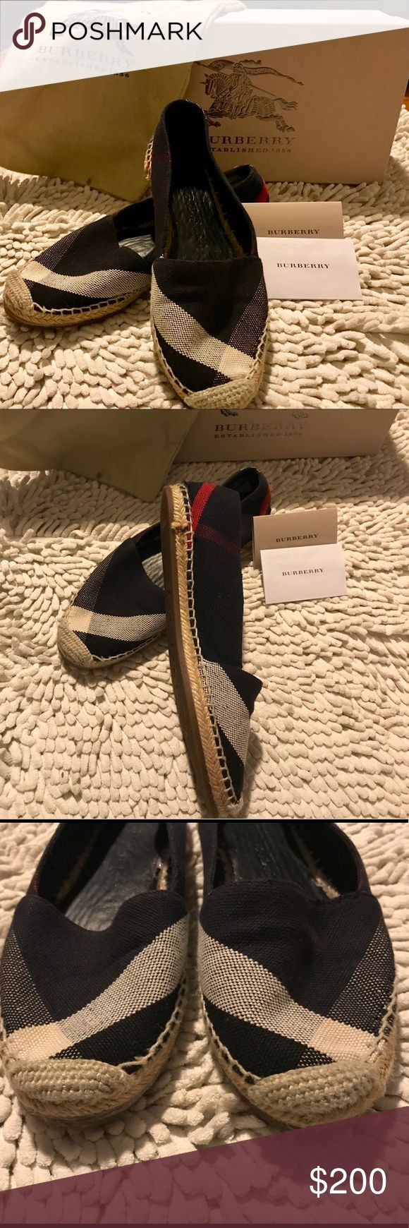 Burberry Espadrille The iconic check print Burberry Hodgeson Espadrille Flat is an easy breezy slip on style. It has rubber sole. Very cute  to pair with any outfit💙 Authentic. Dust bag, purchase card, and box included.👍🏻 Burberry Shoes Espadrilles