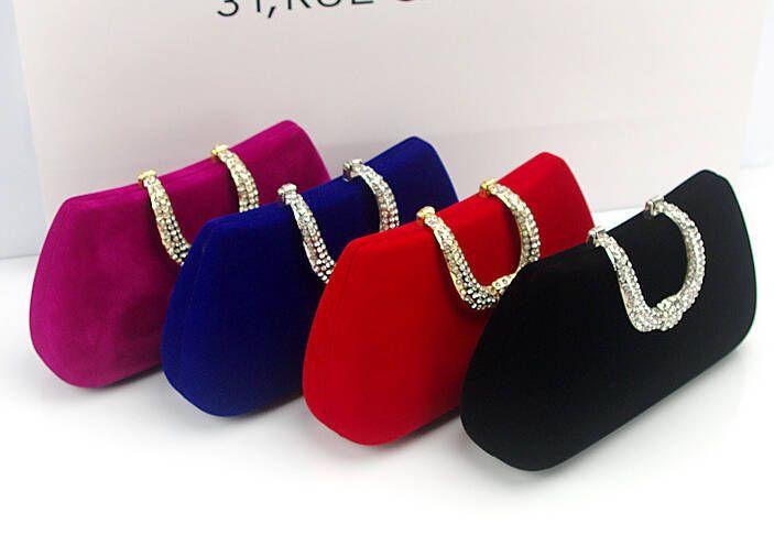 Высокое качество замшевые сумки сцепления U-образный Алмаз Бархат Вечерние сумки Роскошные женщины кошелек сумки с цепями вечерние свадебные сумки W107