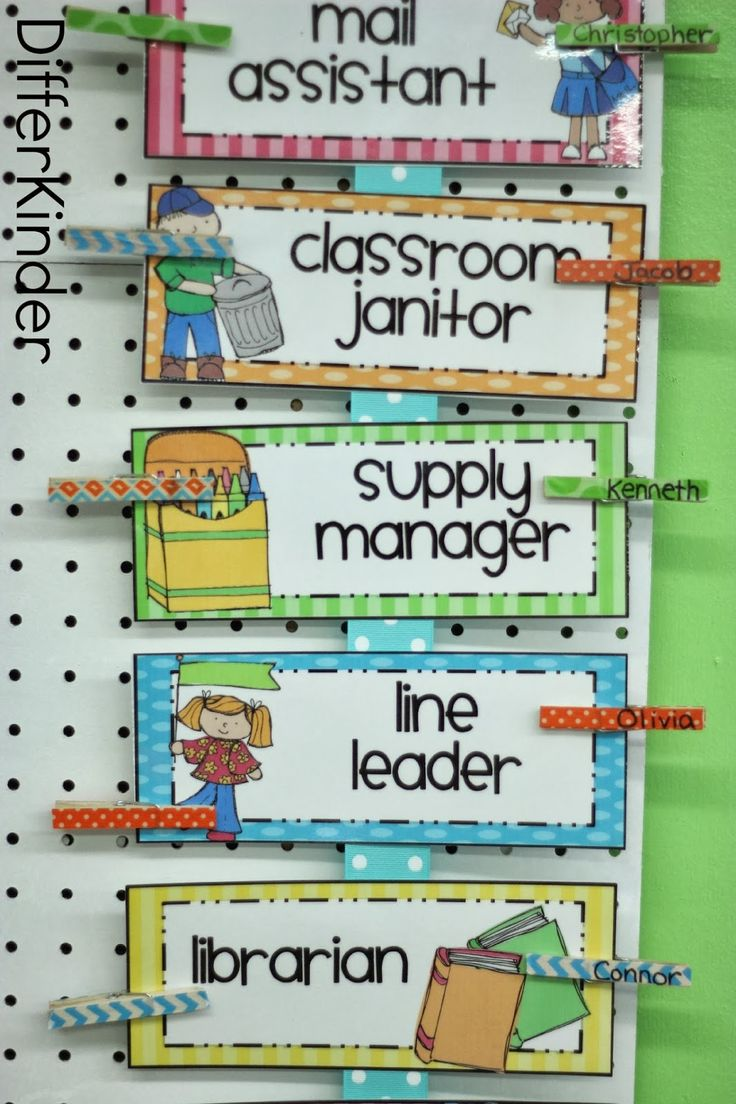Classroom Helper Idea (from A Differentiated Kindergarten)
