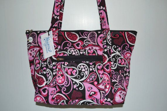 Quilted Fabric Handbag Purse Black With Beautiful Heart Paisley Design