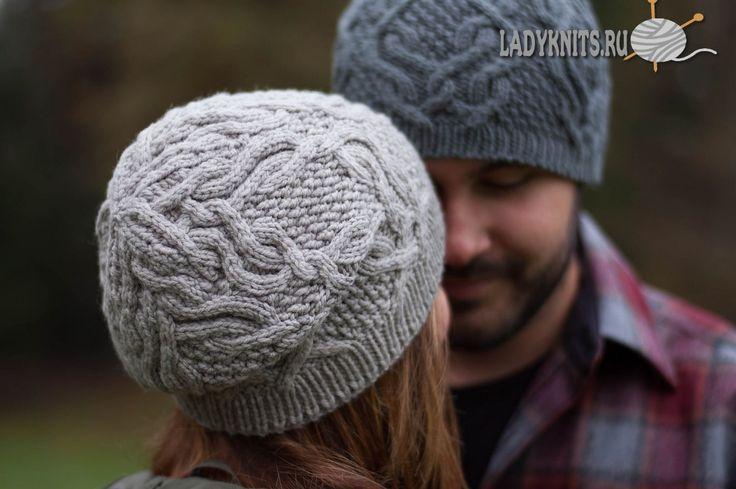 Вязаная спицами стильная шапка с косами для женщин и мужчин