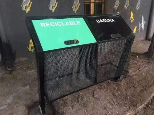 Cesto Canasto Hierro Basura Separacion De Residuos Exterior