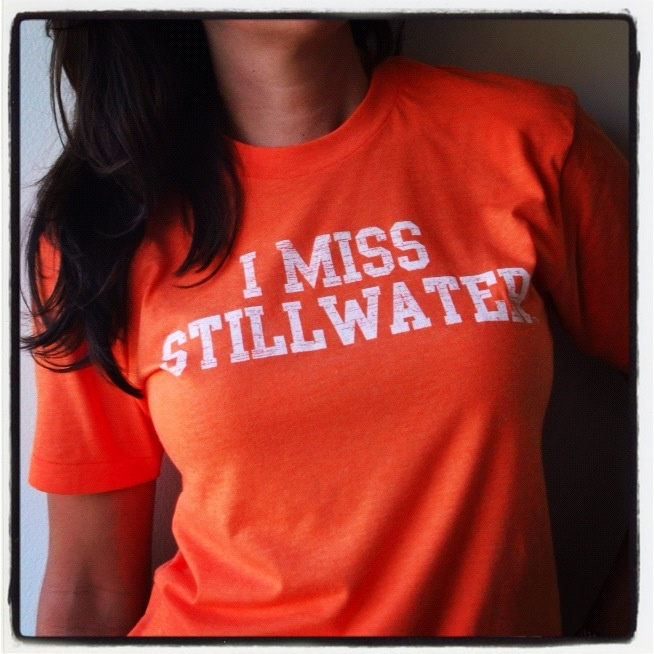 Oklahoma State Cowboy Alums all have one thing in common, they MISS STILLWATER! Great for tailgating and watch parties, snag am I MISS STILLWATER t shirt look great cheering on the OSU Cowboys. Get one now at www.imissmycollege.com