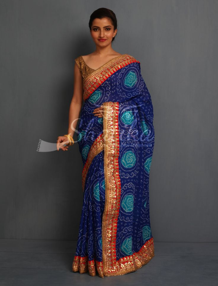 Kinjal Cool Blue Eccentric Circles With Contrast Bold Border Pure Bandhej Saree
