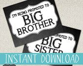New Baby Coming DIY Printable sign \ I'm being Promoted to Big Brother/sister \ Instant Download \ Chalkboard \ Photo Prop \ 8X10 SIZE
