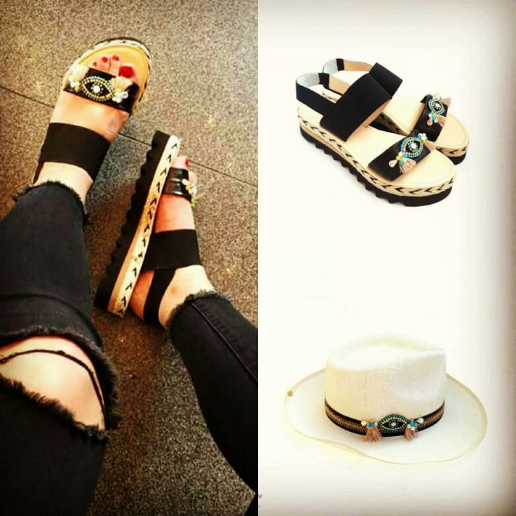 Look at the Eye... Lucky Charm to avoid bad luck! Black sandal with black shark detail! Have a match with its hat! Argo Sandal now available! Summer 2016_New Collection! Enjoy! #bonbonsandals #argo #newcollection #summer2016 #black #detailofshark #luckyeye #charm #hatcollection2016