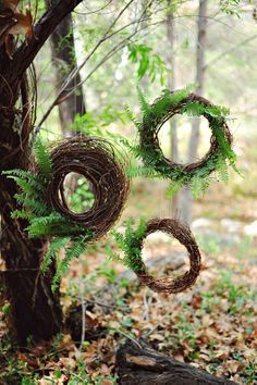 Love this idea for a garden party. Grapevine wreaths and fern fronds.