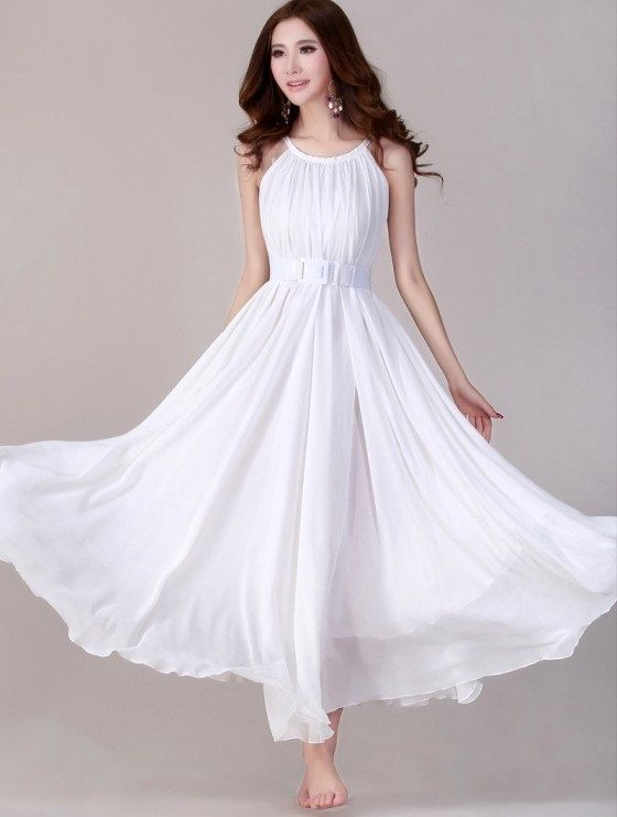 White Plus Size Wedding Dresses Under $100 : White long evening wedding party dress lightweight