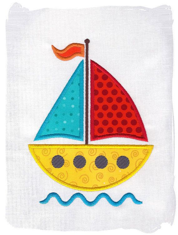 Sailboat Machine Embroidery Applique by pinkfrogcreations on Etsy, $2.80