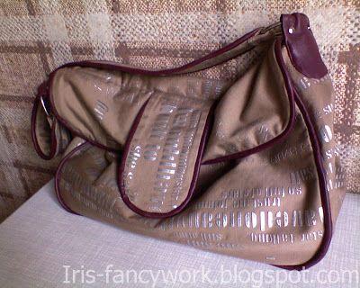 My Fancywork Blog: Сумка с кожаными кантами и двойным клапаном.