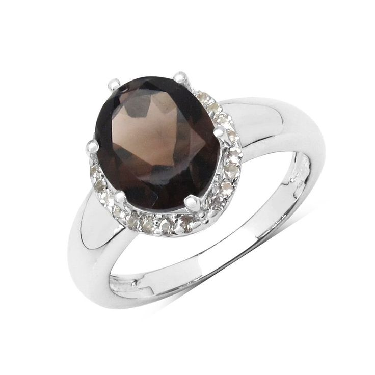 Oval Smokey Topaz and White Topaz Sterling Silver Ring. Sterling Silver. natural gemstone. Free Shipping. Free Gift Box.