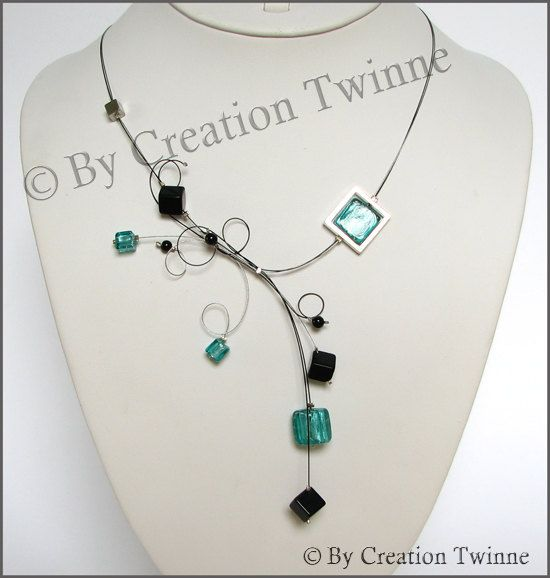 turquoise, black, glass  beads necklace,  swirls, bridesmaids necklace, delicate necklace, bridesmaids gifts. $45.00, via Etsy.