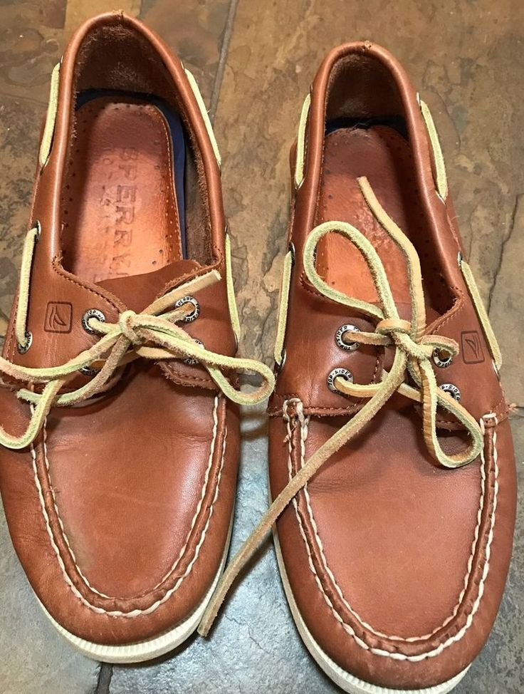 Sperry Top Sider Mens Brown Leather Boat Shoes Sz 8 Moccasins     eBay