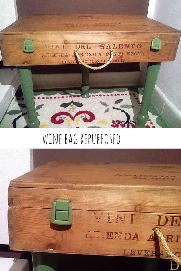 Wine bag repurposed as bedside table doridesign