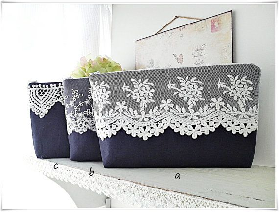 Clearance sale Navy blue zip pouch clutch purse cosmetic pouch travel pouch purse white lace