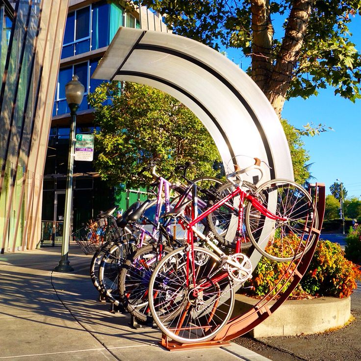 Public bicycle parking in downtown Palo Alto, California.