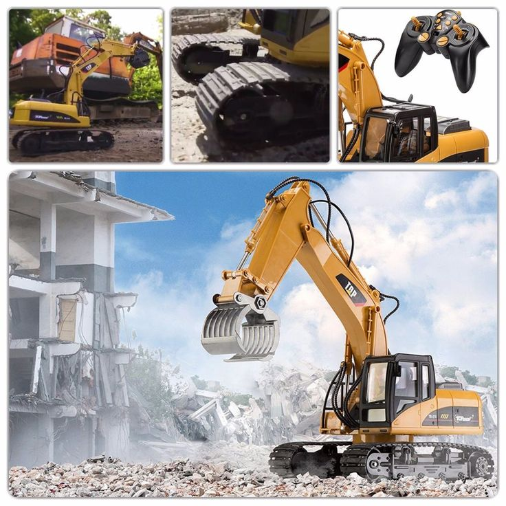 2.4 Ghz Remote Control Grapple Excavator Toy Powerful Motor Really Digs Replica
