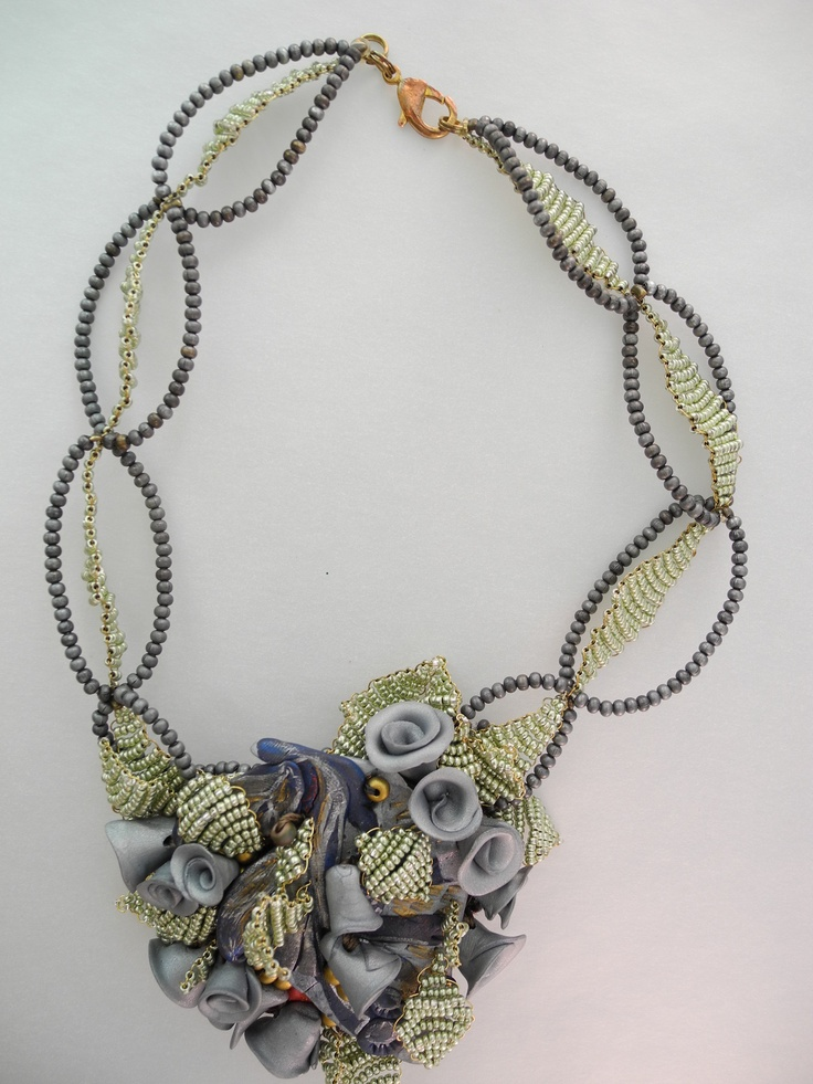 Silver clay Rosette Necklace