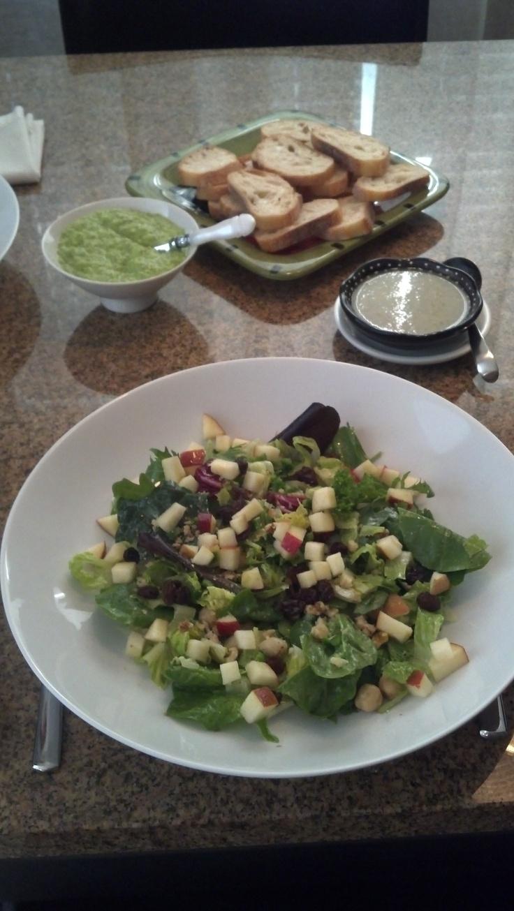 Spicy Apple-Walnut salad with fat free balsamic/raisin dressing (recipe from Fat Free Vegan)...delish!!!