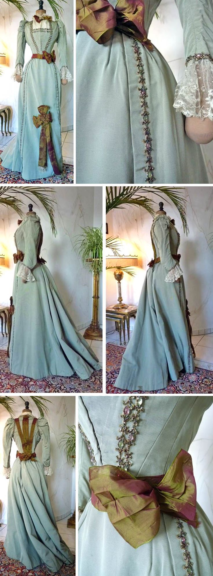 Two-piece walking dress, circa late 1890s. Pale green silk faille. Boned bodice lined in green cotton with faux gemstone braid in front and around sleeves and cuffs. Contrasting lace forms placket, collar, and cuffs. Iridescent 2-tone silk organza outlines back seams and defines jacket edge. Fastens front with hooks and bars. Skirt lined in glazed cotton and constructed with gored sections and stroked pleats at center back. More braid and bow on front skirt.