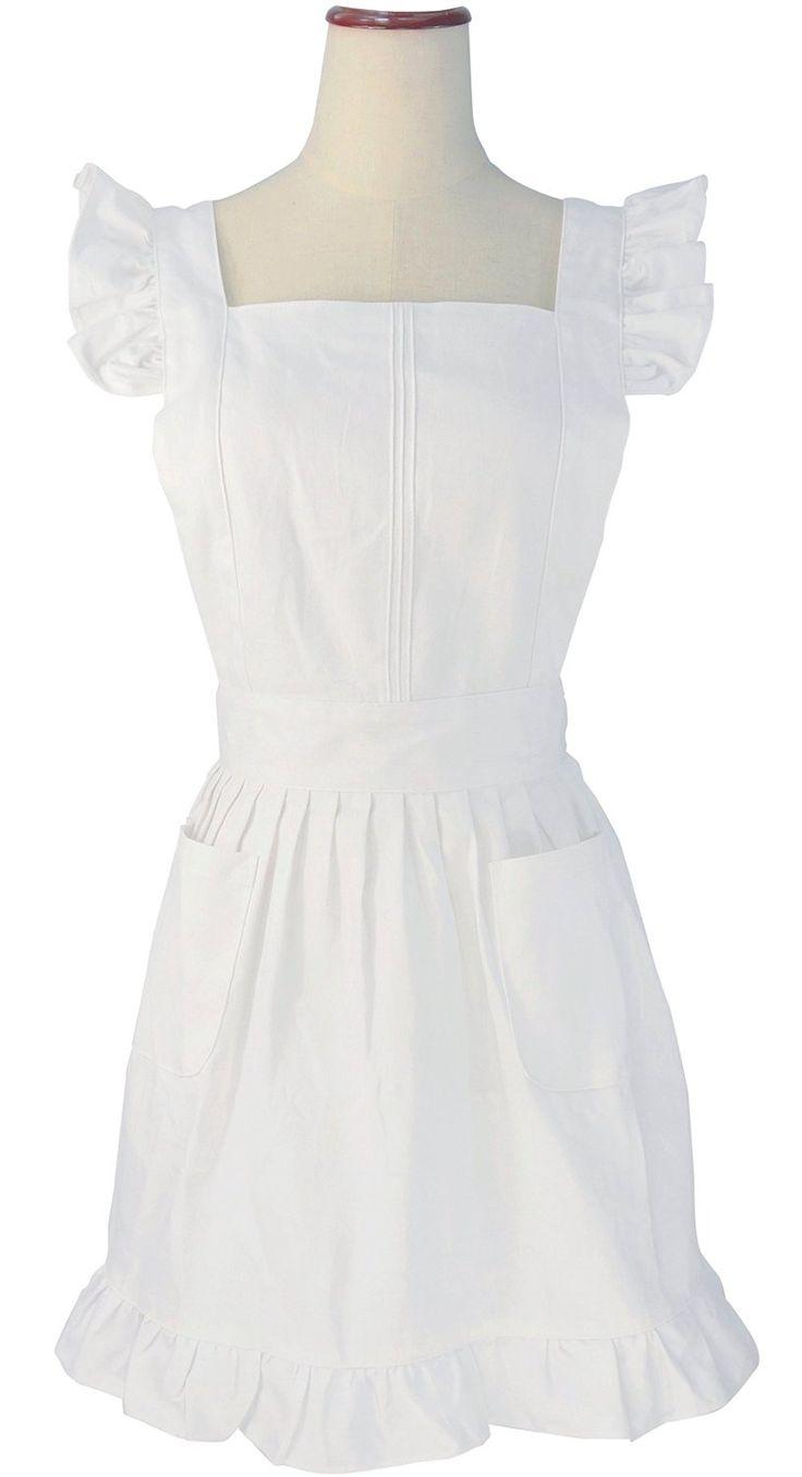 White ruffle apron amazon - Lilments Retro Adjustable Ruffle Apron Kitchen Cooking Baking Cleaning Maid Costume White Amazon