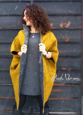"""Купить Валяное двухстороннее пальто """" Золото и серебро"""" - комбинированный, однотонный, пальто валяное"""