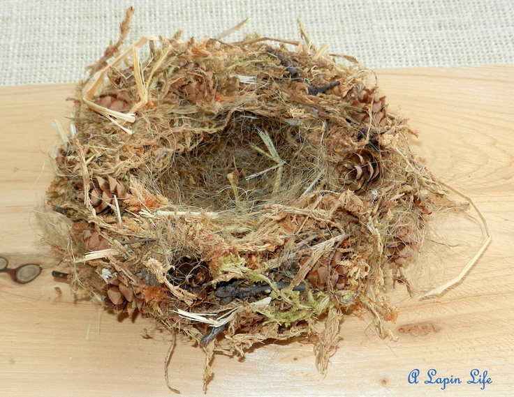 on wax paper, mix moss, water and Elmer's glue, into a ball shape.  Form into a  nest and let it dry 2 days.  Pull twine apart, and glue inside and outside of nest, add more moss if desired.
