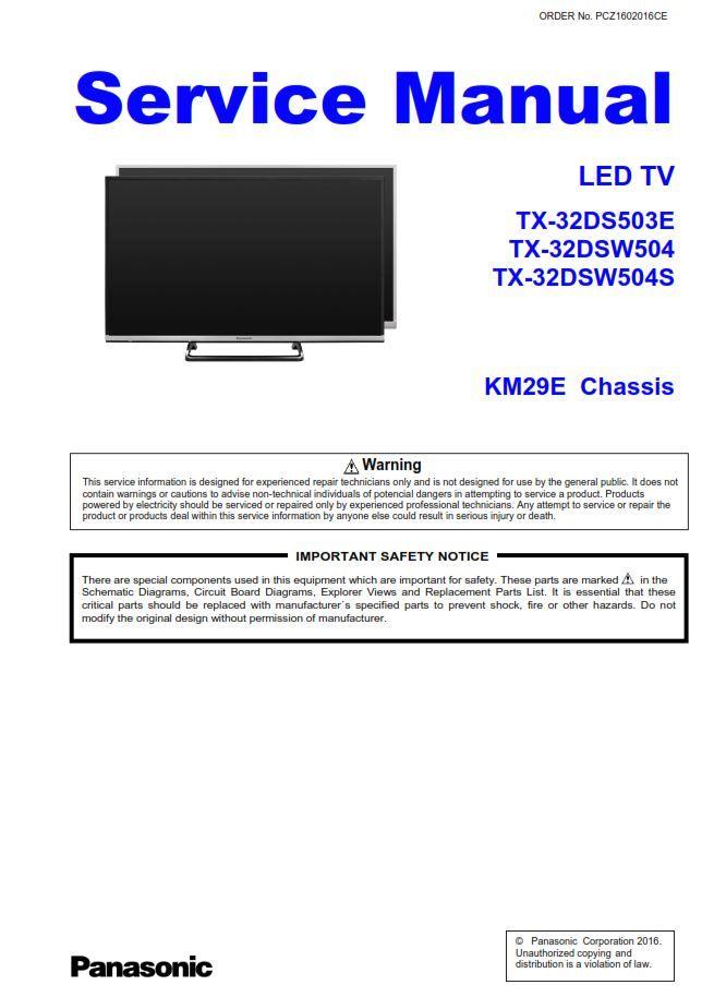 Panasonic Tx 32dsw504 32dsw504s 32ds503e Led Tv Service Manual Led Tv Tv Services Panasonic