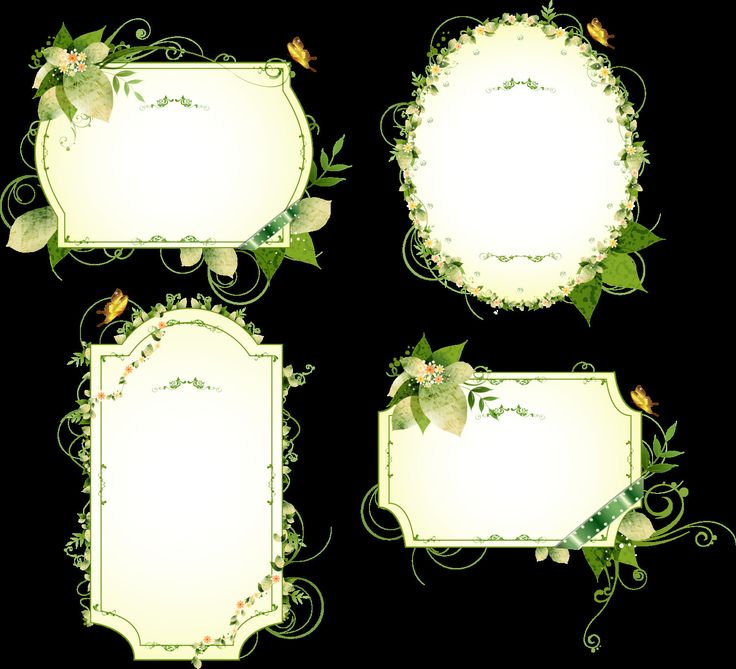 Green Frame Border Flowers Vector Vintage Ornamental PNG EPS Corner Elements Download PNG Instant Transparent Background Clipart Clip Art by SlavGraphics on Etsy