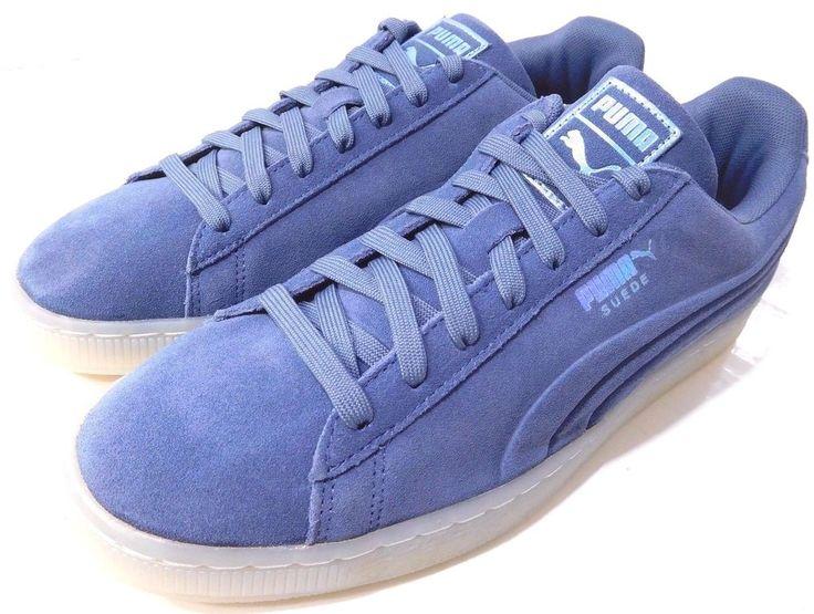 Men's Puma Suede Emboss Ice Foil Vintage Indigo Lace Up Casual Shoes US 9.5M NEW #PUMA #Casual