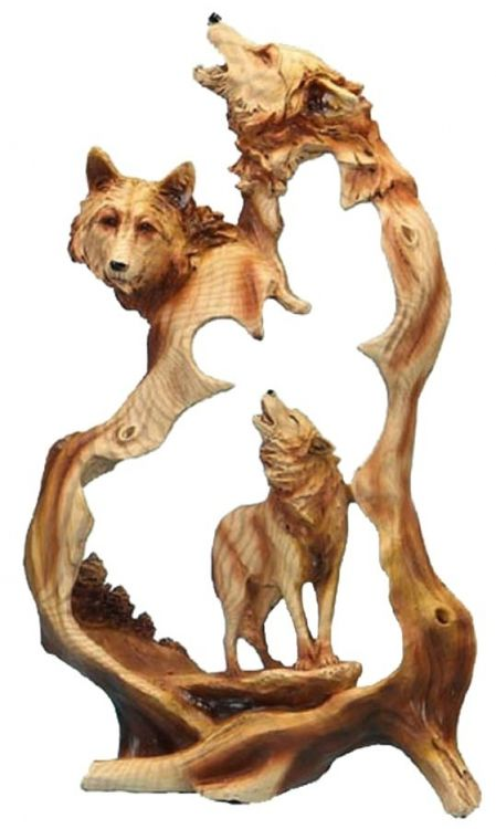 The Three Wolves Howling Carved Sculpture features three wolves! It makes a beautiful way to represent your love of wildlife and the great outdoors. This creative and attractive sculpture makes a grea